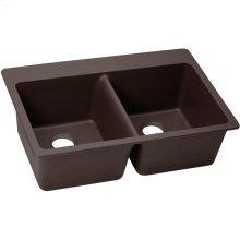 "Elkay Quartz Luxe 33"" x 22"" x 9-1/2"", Equal Double Bowl Drop-in Sink, Chestnut"