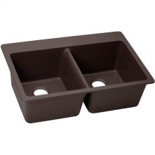 "Elkay Quartz Luxe 33"" x 22"" x 9-1/2"", Equal Double Bowl Drop-in Sink, Chestnut"
