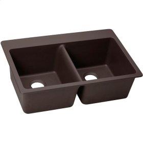"Elkay Quartz Luxe 33"" x 22"" x 9-1/2"", Equal Double Bowl Top Mount Sink, Chestnut"