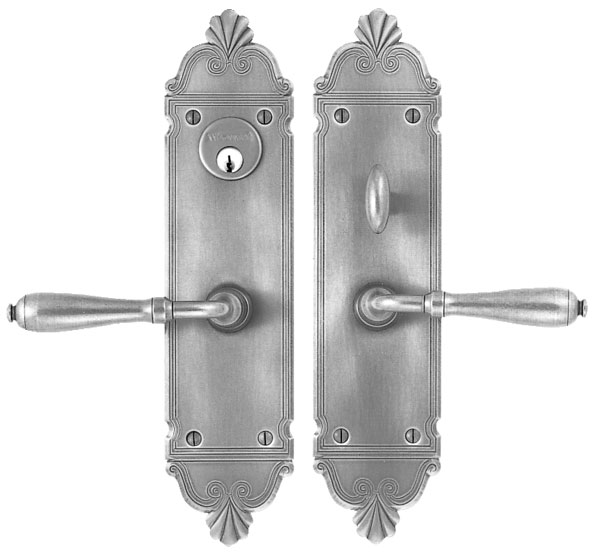 "Entrance Lever Set for interior or exterior door - Complete single cylinder set for 1 3/4"" door"