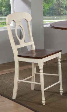 Sunset Trading Andrews Napoleon Barstool in Antique White and Chestnut