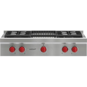 "Wolf36"" Sealed Burner Rangetop - 4 Burners and Infrared Charbroiler"