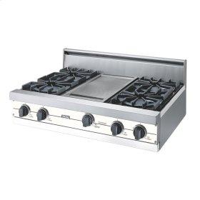 "Cotton White 36"" Open Burner Rangetop - VGRT (36"" wide, four burners 12"" wide griddle/simmer plate)"