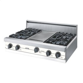 "Cotton White 36"" Open Burner Rangetop - VGRT (36"" wide, four burners 12"" wide griddle/simmer plate)"