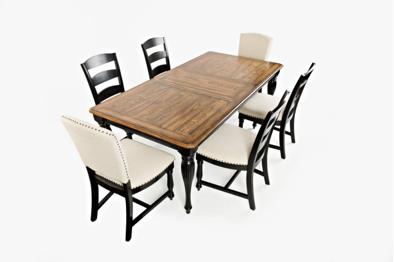 Castle Hill Rectangle Dining Chair With 4 Ladder Back Chairs And Two Upholstered