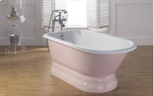 """TRADITIONAL Cast Iron Tub with Pedestal Base With 3 3/8"""" Faucet Holes in Tub Wall"""