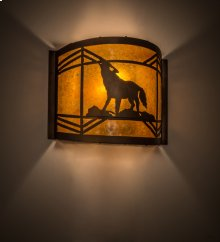 "12"" Wide Wolf on the Loose Wall Sconce"