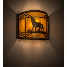 """12"""" Wide Wolf on the Loose Wall Sconce"""
