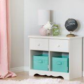 2-Drawer Double Nightstand - White Wash