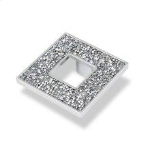 Square Knob With Hole, Chrome Swarovski Crystals
