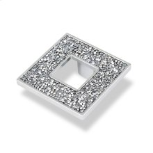 Square Knob With Hole, Chrome Swarovski Crystals