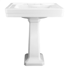 Fitzgerald 28 Inch Pedestal Bathroom Sink- Three Faucet Holes - Canvas White
