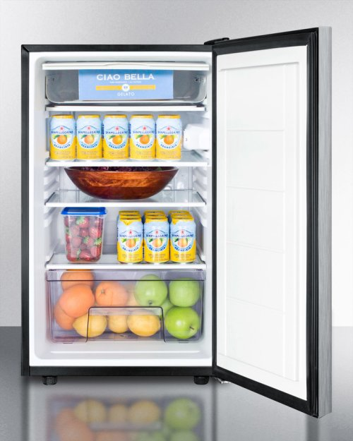 """Commercially Listed ADA Compliant 20"""" Wide Freestanding Refrigerator-freezer With A Lock, Stainless Steel Door, Horizontal Handle and Black Cabinet"""
