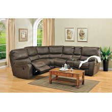 Ramsey Rodeo Brown Leather-Look Recliner Sectional, M6050