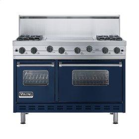 """Viking Blue 48"""" Sealed Burner Range - VGIC (48"""" wide, four burners 24"""" wide griddle/simmer plate)"""