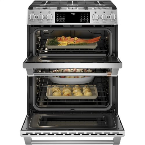 "Café 30"" Slide-In Front Control Gas Double Oven with Convection Range"