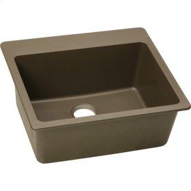 "Elkay Quartz Classic 25"" x 22"" x 9-1/2"", Single Bowl Top Mount Sink, Mocha"