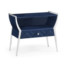 Rectangular Antique Blue Oak Bedside Table