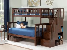 Columbia Staircase Bunk Bed Twin over Full in Walnut