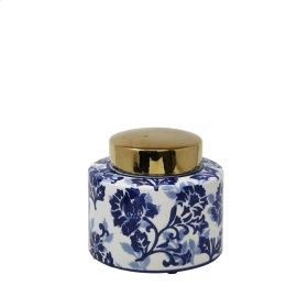 "White/blue Jar W/ Gold Lid 8"""