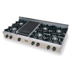 "Five Star48"" Gas Cooktop, Open Burners, Stainless Steel with Brass"