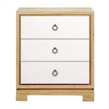 Berkeley 3-Drawer Side Table w/ Bronze Pulls, Natural