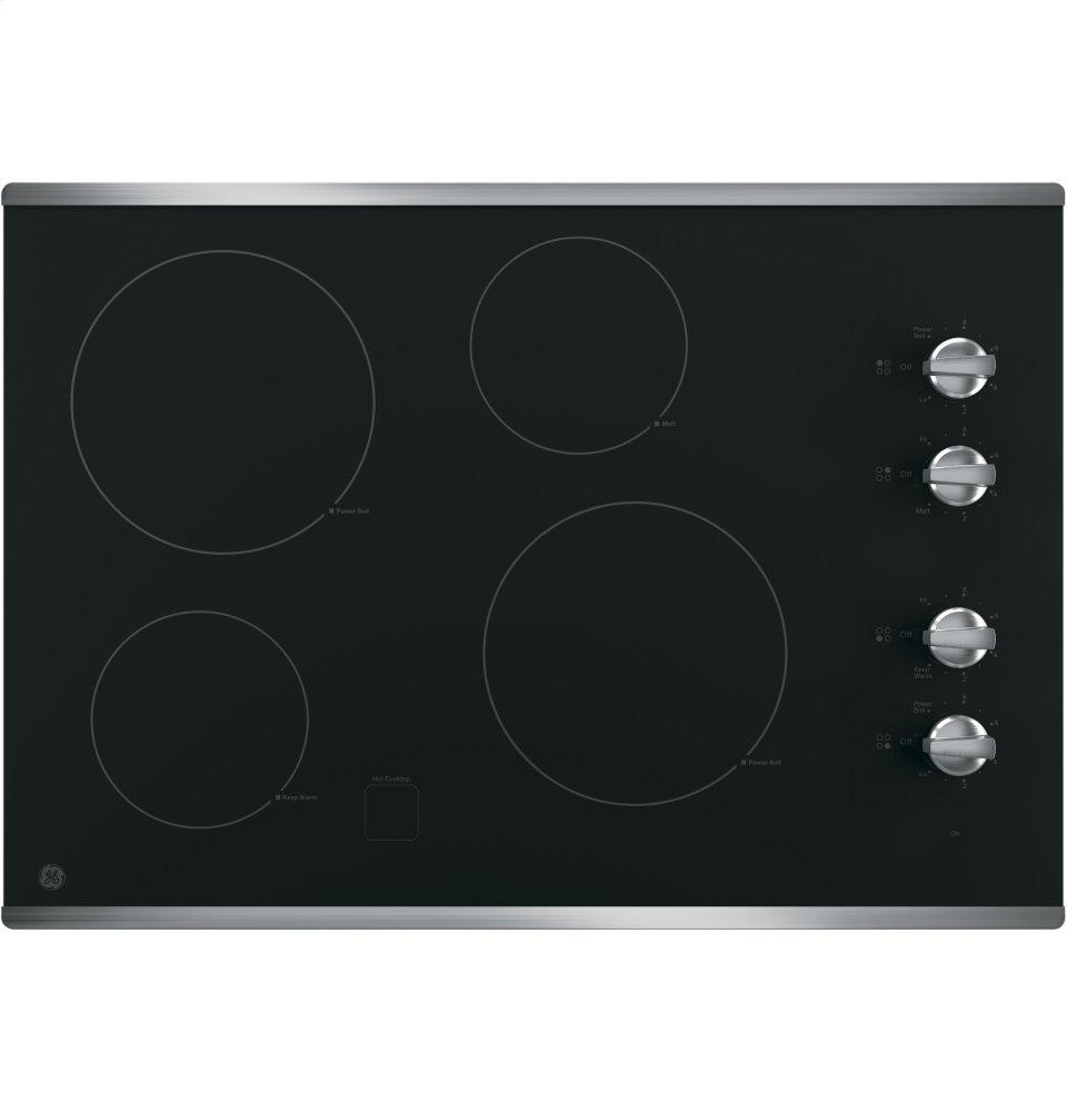 """GE(R) 30"""" Built-In Knob Control Electric Cooktop  STAINLESS STEEL ON BLACK"""