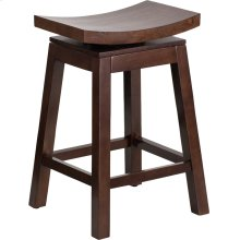 26'' High Saddle Seat Cappuccino Wood Counter Height Stool with Auto Swivel Seat Return