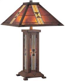 Table Lamp, D/brz/tiffany Shade&night Lite, Cfl 13x2 & C 7w