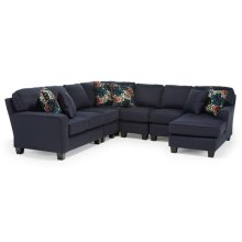 ANNABEL 6PC Stationary Sectional Sofa w/Beveled Arm