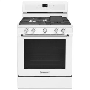 30-Inch 5-Burner Gas Convection Range - White - WHITE