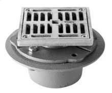 "4"" Square Complete Shower Drain - IPS Cast Iron - Brushed Nickel"
