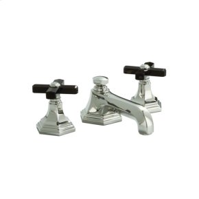 Nickel Silver For Town by Michael S Smith Basin Faucet Set, Black Obsidian Cross Handles