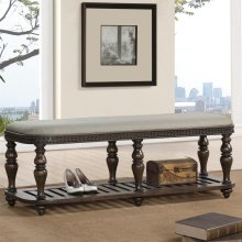 Belmeade - Upholstered Bed Bench - Old World Oak Finish