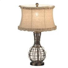Bubble Glass Lamp with Linen Ruffle Shade. 100W Max. 3 Way Switch.