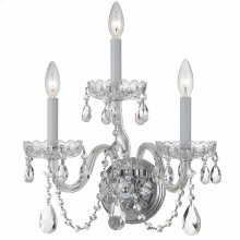 Traditional Crystal3 Light Clear Crystal Chrome Sconce I