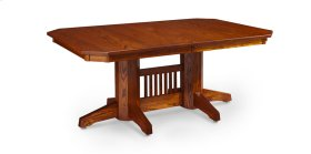 Prairie Mission Slats Double Pedestal Table, 2 Leaf