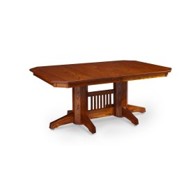 Prairie Mission Slats Double Pedestal Table, Solid Top