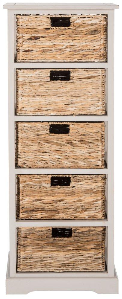 Vedette 5 Wicker Basket Storage Tower - Vintage Grey