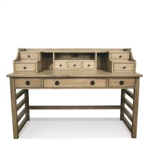 Perspectives Leg Desk with Hutch Sun-drenched Acacia finish