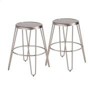 Avery Metal Counter Stool - Set Of 2 - Brushed Stainless Steel Product Image
