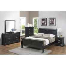 Louis Philippe Traditional Black Four-piece Queen Bedroom Set