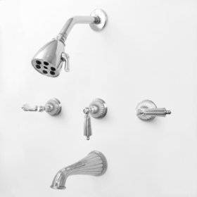 3200 Series 3 Valve Tub and Shower Set with Georgian Handles (available as trim only P/N: 1.324133DT)