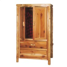 Two Drawer Armoire Natural Cedar, Premium