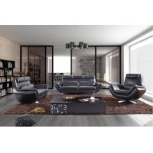 Divani Casa 9009 Modern Black Leather Sofa Set