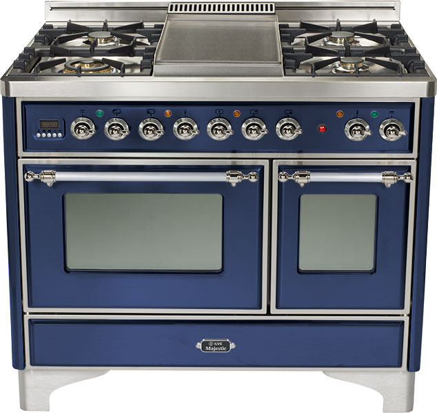 "Midnight Blue 40"" 6 Burner Majestic Techno Dual Fuel Range