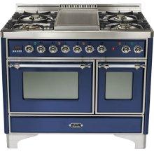 "Midnight Blue 40"" 6 Burner Majestic Techno Dual Fuel Range"