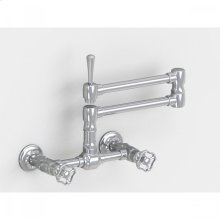 """Brushed Stainless - Wall Mount 17 3/4"""" Articulated Dual Swivel Spout with Metal Wheel"""