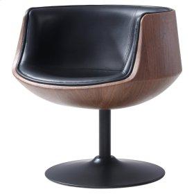 Conan PU Swivel Chair Dark Walnut Frame, Monaco Black