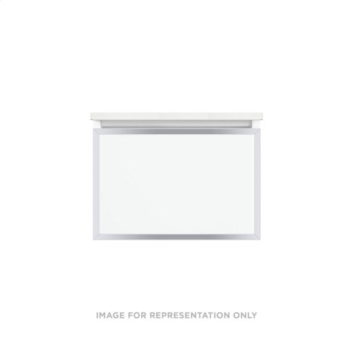 """Profiles 24-1/8"""" X 15"""" X 18-3/4"""" Framed Single Drawer Vanity In Matte White With Chrome Finish and Slow-close Full Drawer"""